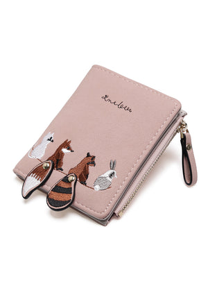 Women's Wallet Lovely Cartoon Animals Short Leather