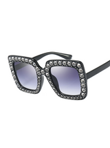 Square Sunglasses Women Diamond Frame Mirror
