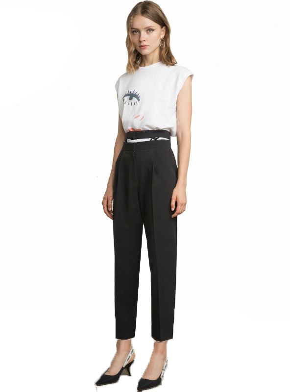 Hollow Out Straight Female Casual Trousers Lady Buttoms