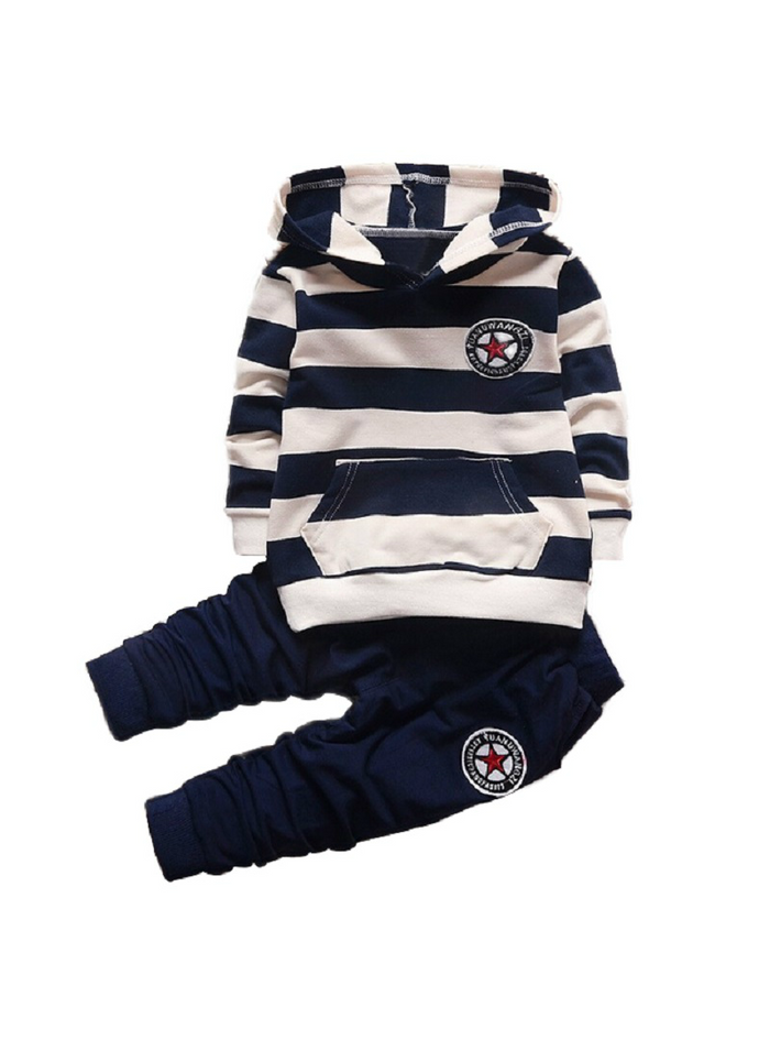 Long Sleeve Striped Hoodies Baby Kids Suits