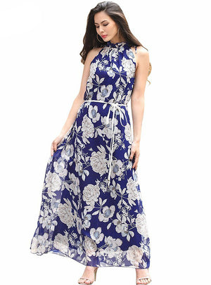 Floral Print Halter Chiffon Long Dress Floral Party Women