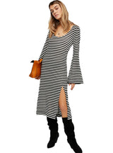 Casual Dresses Split Side O-Neck Long Flare Sleeve