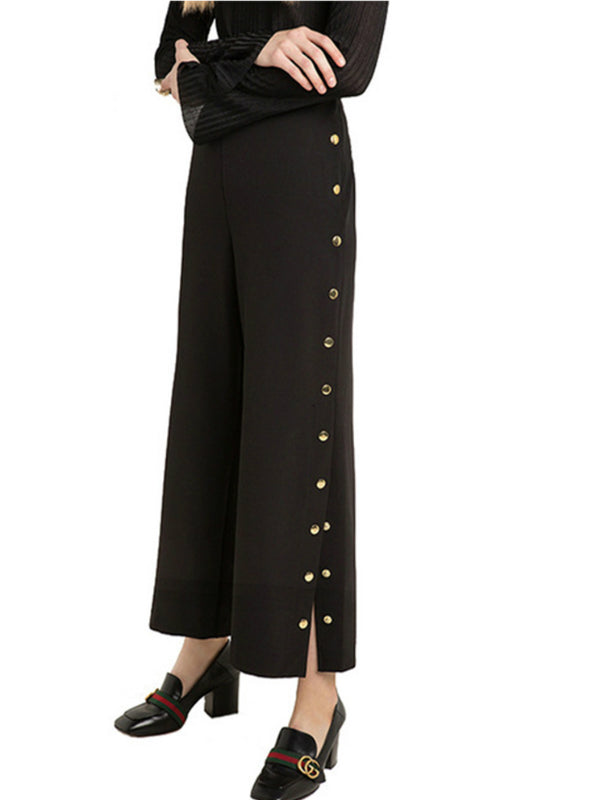 Chic Side Split Loose Casual Pants Female Wide Leg Pant