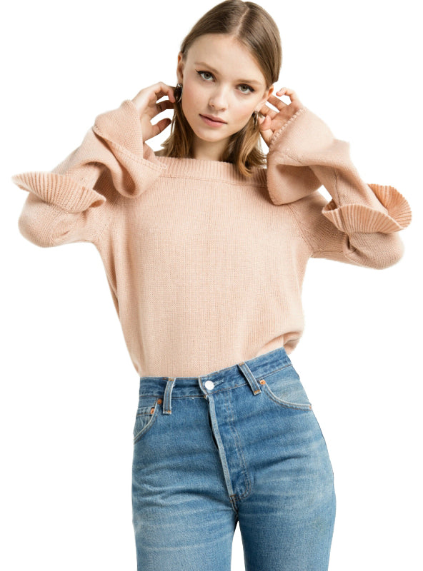 Knitted Tops Flare Sleeve Sweet Style Off Shoulder