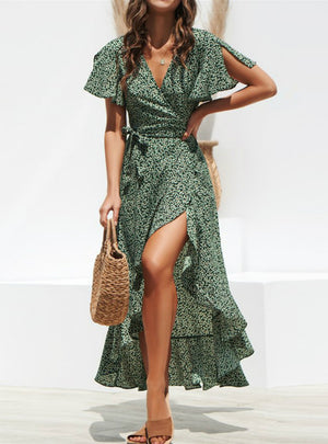 Ruffles Wrap Casual V-Neck Split Sexy Party Dress