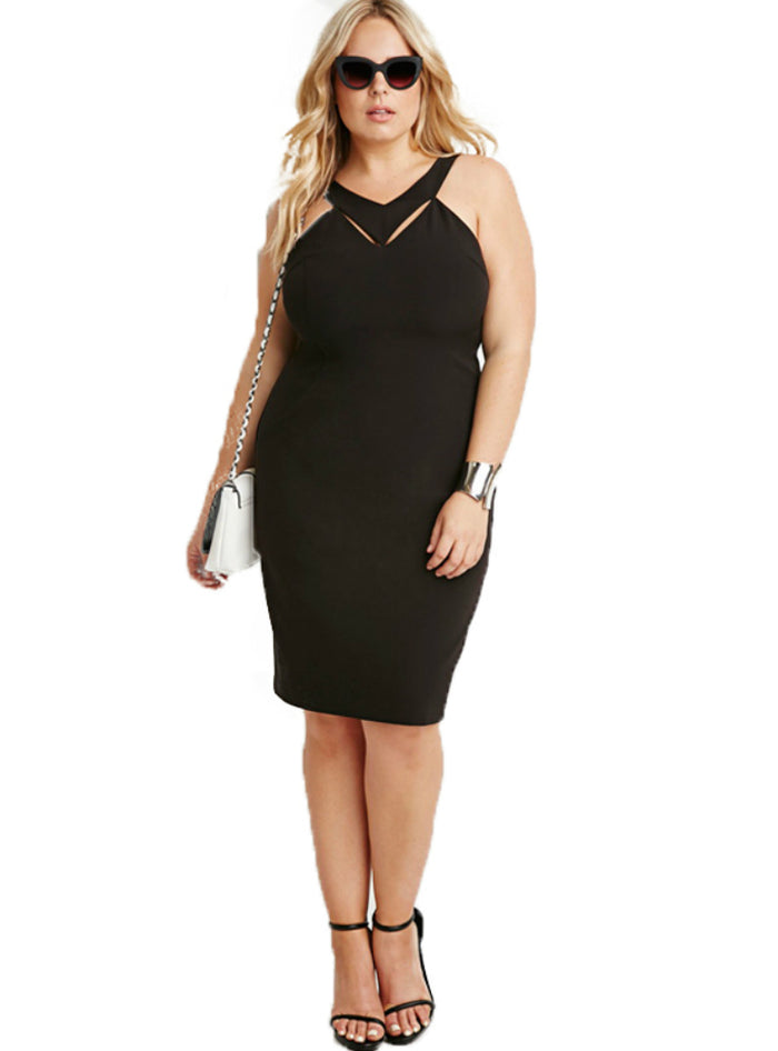Sexy Hollow Out Bodycon Dress Big Size Sleeveless