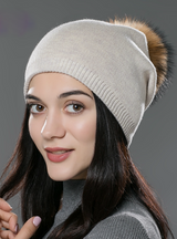 Hat Wool Knitted Beanies Cap Fox Fur