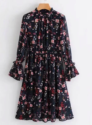 Women Vintage Floral Printed Chiffon Dress