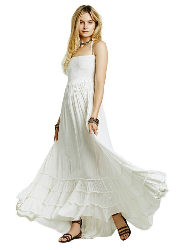 Women Bohemian Solid White Ankle-length Dress