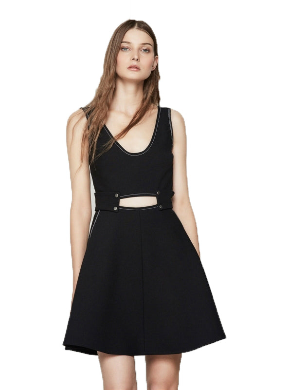 Women A-line Dress Sexy V Neck Backless Button Mini Dress