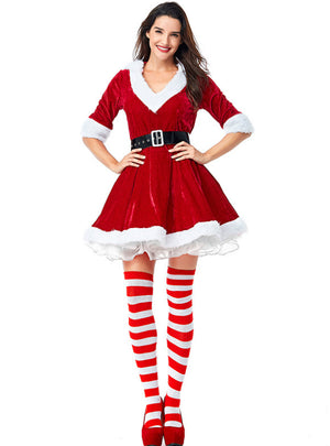 V Necked Unkempt Skirt Party Christmas Girl Outfit