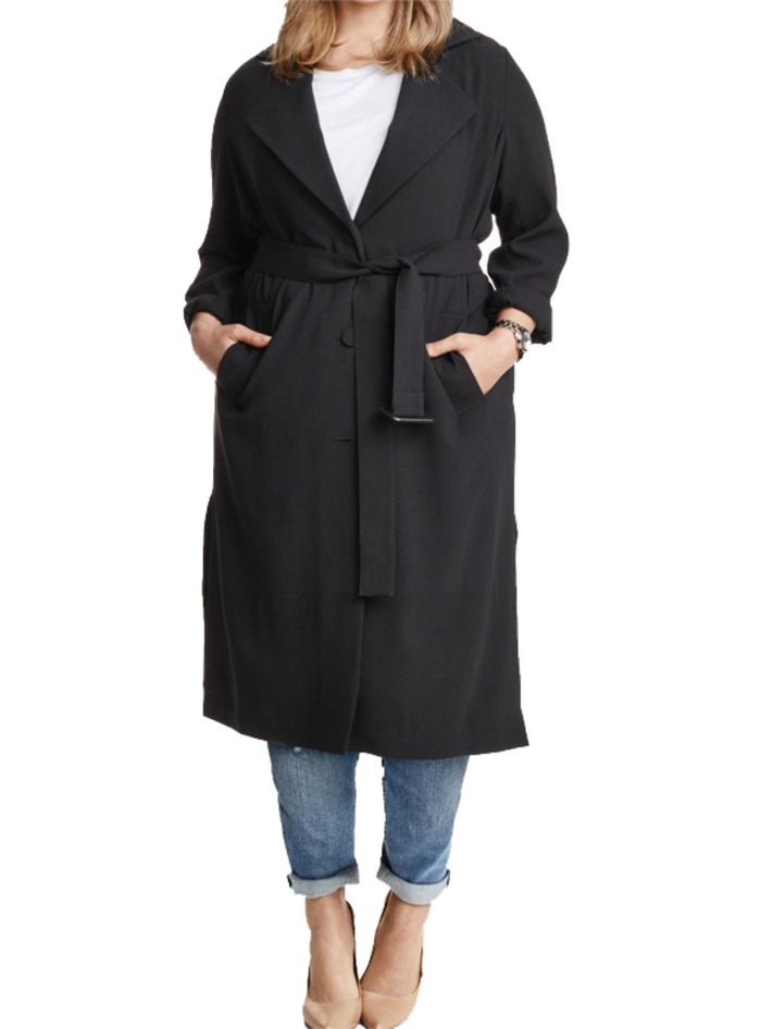 Solid Black Single Breasted Sash Women Warm Coat