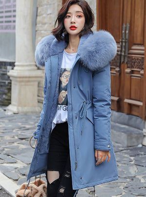 Women's Parkas Coats Hooded Fur Collar Thick Section