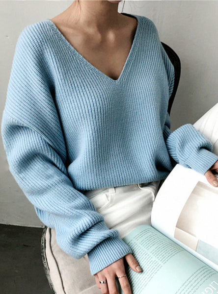 Women's Sweaters V-Neck Minimalist Tops