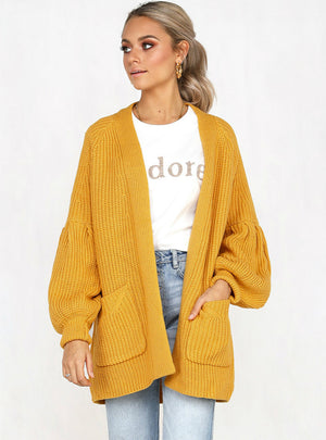Women's Bubble Sleeve Pocket Cardigan Sweater