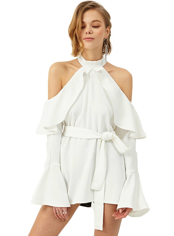 Off Shoulder Halter Ruffles Full Butterfly Sleeve