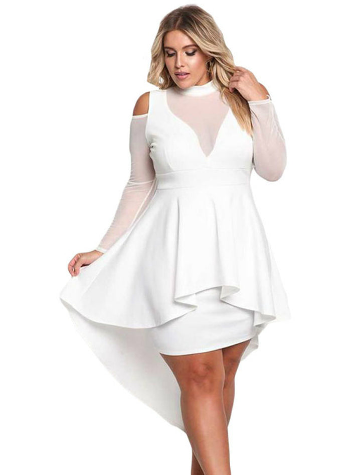Long Sleeve Cold Shoulder Women Night Club Dresses