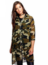 Camouflage Shirt Dress 3/4 Sleeve Boyfriend Shirt