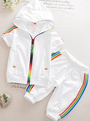 Colorful Zipper Hooded Clothing For Girls Children Outfit Set