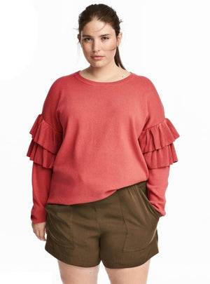 Solid Red Sweater Butterfly Sleeve Female Pullovers