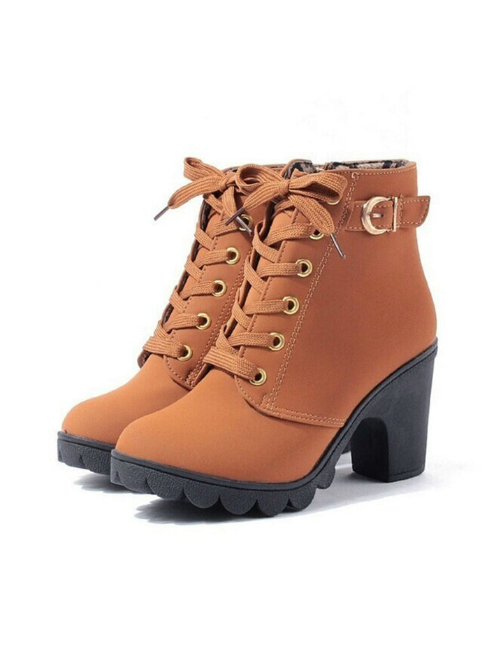 Autumn Winter Women Boots High Quality Solid Lace-up