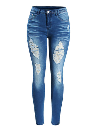 Mid Waist Stretch Skinny Pencil Pants Jeans