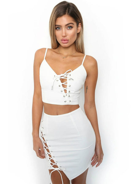 Two Piece Sling Lace Up Strap Dress