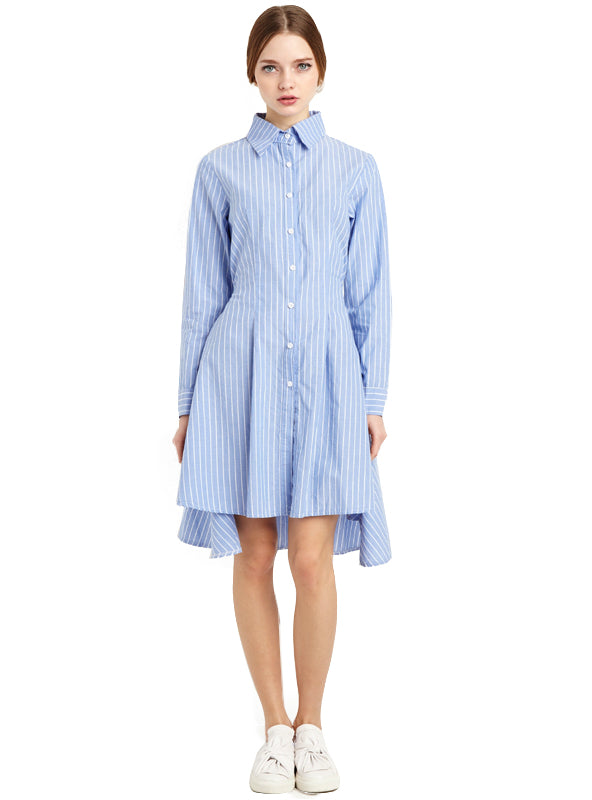 High Low Single Button Long Sleeve Shirt Dress