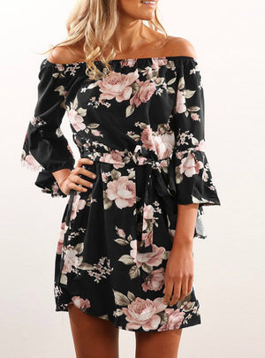 Sexy Backless Floral Print Summer Dress