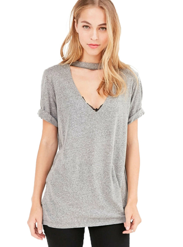 V-neck Solid 3 Colors Tops Brief Short Sleeve