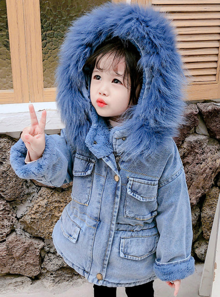 Baby Girl Denim Jacket Plus Fur Warm Toddler Girl Outerwear