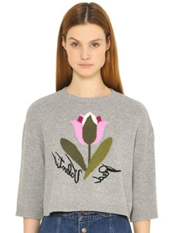 Gary Floral Letter Embroidery Women Sweater O-neck