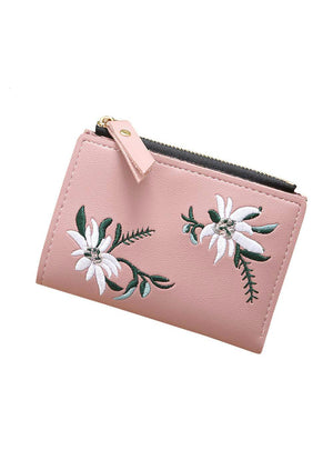 Women Embroidery Zipper Short Wallet Coin Purse
