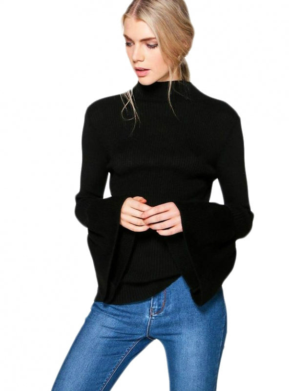 Sweater Bell Sleeve Mock Neck Sweet Sweater Women