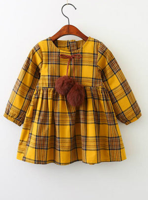 Plaid Fur Ball Bow Design Baby Girls Long Sleeve Dress