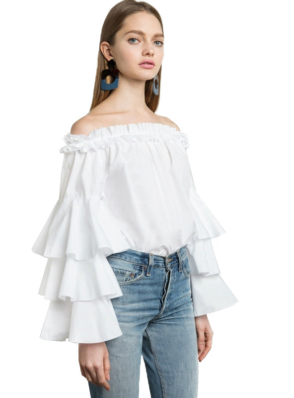 Butterfly Sleeve Slash Neck Shirt Solid White Cute
