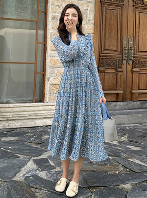Female Long Sleeve Printed Casual Pleated Dresses