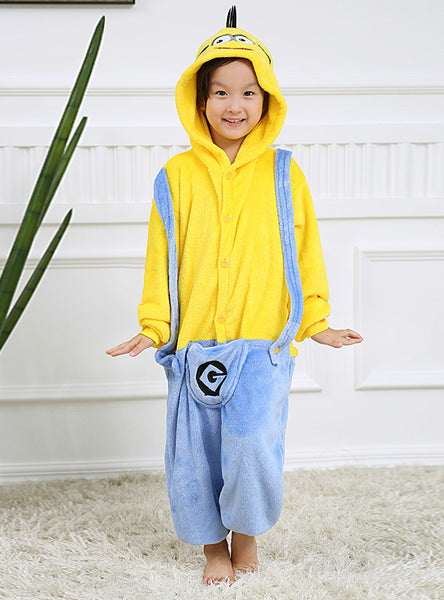 Children Minions Pajamas Set Unisex Flannel Stitch