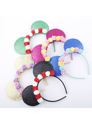 Cute mouse Ears Hair Bands Hoop rose flower