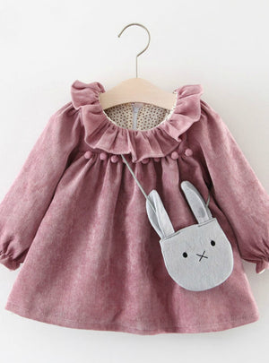 Long-sleeved Lotus Leaf Collar Pocket Doll Dress
