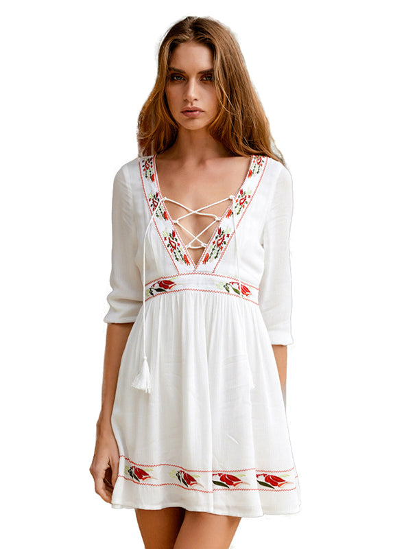 V-neck Lace-up Belt Sexy Women Mini Dress