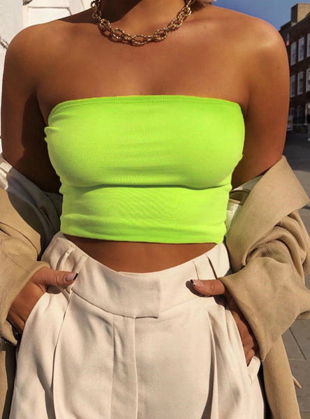 Womens Bralette Plain Off Shoulder Vest Crop Top Tank Tops