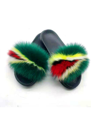 Coolsa Summer Women Fox Fur Slippers