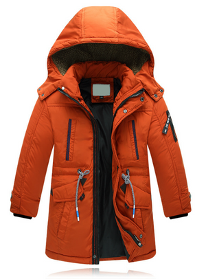 Children Zipper Waist Strap Down Coats Boy