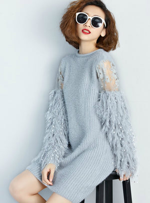 Winter Fur Spliced Long Sleeves Knitted Sweaters Dress