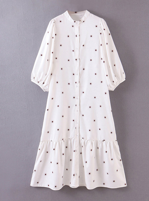 Women White Shirt Midi Little Floral Print Dress