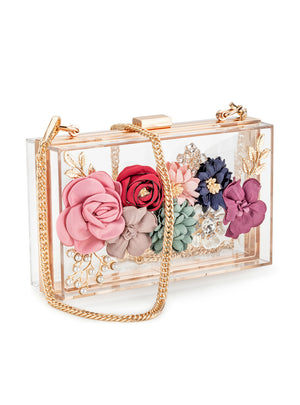 Women Acrylic Flower Clutches Crossbody Purse