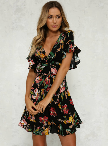 Deep V-Neck Black Flower Print Dresses Hem Folds Bohemian
