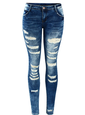 Rise Skinny Distressed Washed Stretch Denim Jeans