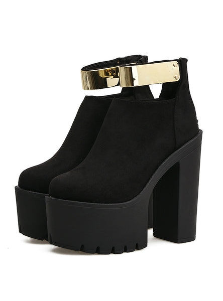 Fashion Bling Thick Heels Ladies Shoes Black Boots Flock